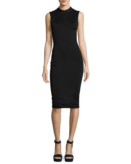 Twisted-Back Sleeveless Body-Con Midi Dress, Black