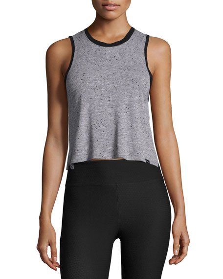 Koral Activewear Crescent Sleeveless Crop Top, Gray
