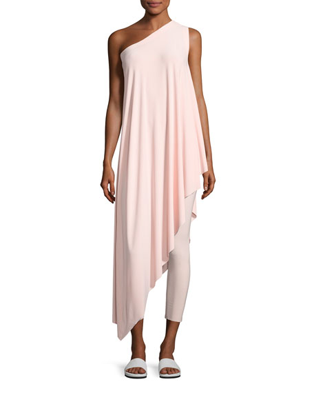 One-Shoulder Diagonal Tunic Top, Blush