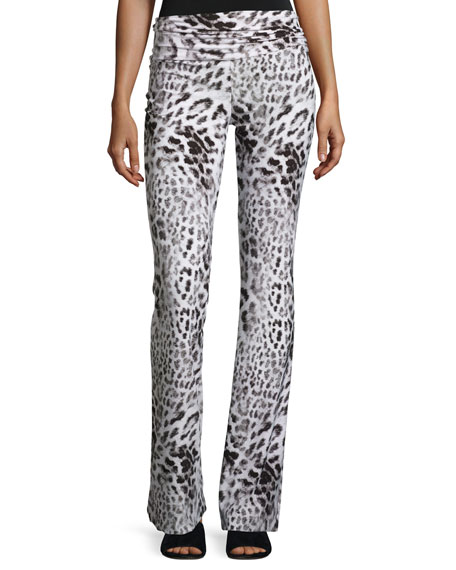 Norma Kamali Jersey High-Waist Boot Pants, Gray Leopard