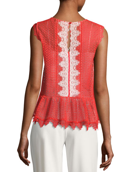 Adele Sleeveless Lace Peplum Top, Red