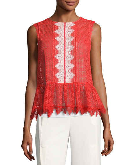 Saloni Adele Sleeveless Lace Peplum Top, Red
