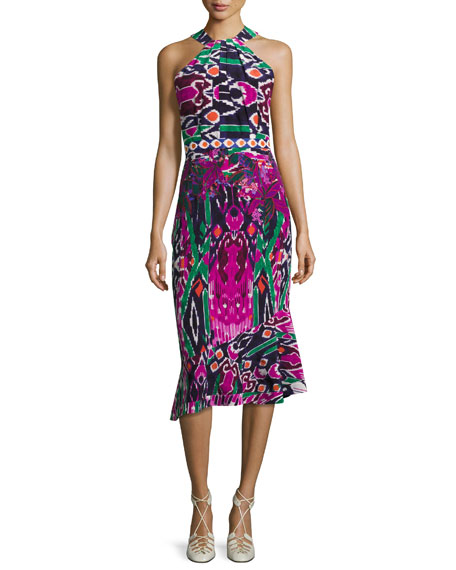 Saloni Ruby High-Neck Midi Dress, Multicolor