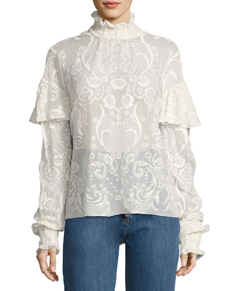 Magda Butrym Vichy Embroidered Voile Top, Cream