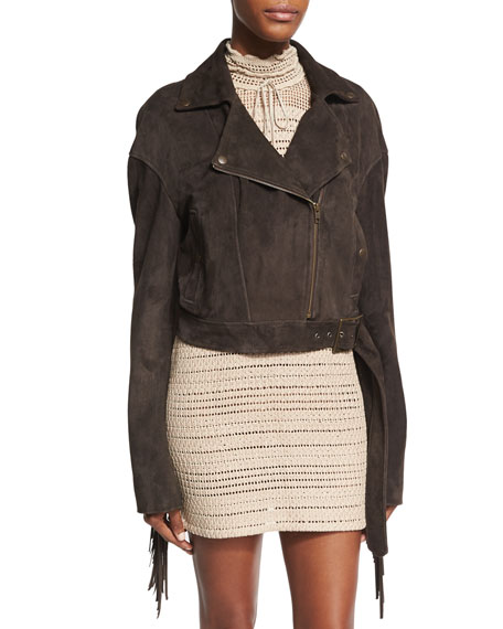 Magda Butrym Lincoln Embroidered Suede Biker Jacket with
