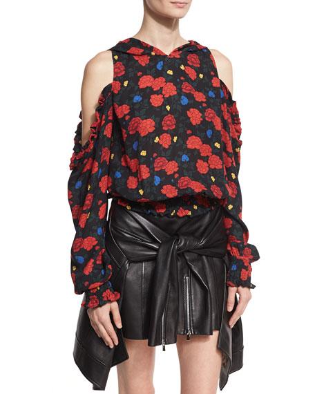 Foggi Cold-Shoulder Floral-Print Silk Hoodie, Black