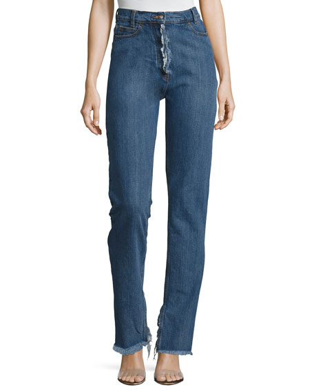 Magda Butrym Summersville High-Waist Flare-Cuff Jeans with Frayed