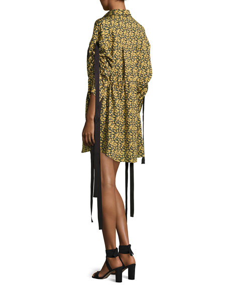 Goteborg Floral-Print Shirtdress with Dangling Ties, Yellow