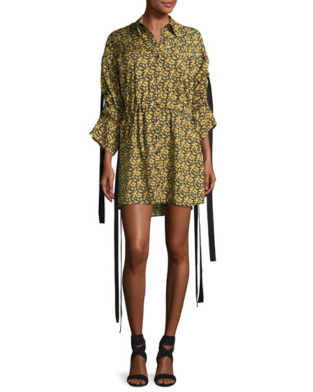 Magda Butrym Goteborg Floral-Print Shirtdress with Dangling Ties,