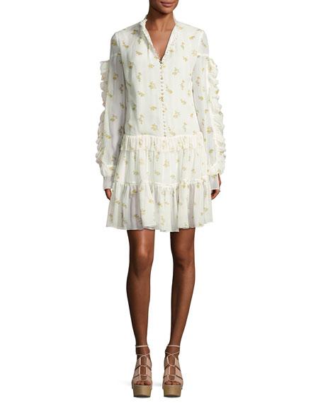Metz Floral-Print Ruffle-Trim Tiered Dress, Cream