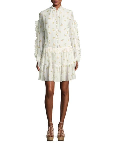 Magda Butrym Metz Floral-Print Ruffle-Trim Tiered Dress, Cream
