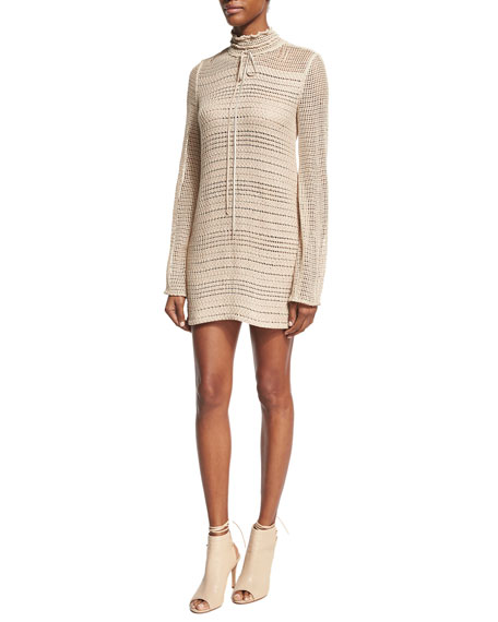 Magda Butrym Crocheted Tie-Neck Minidress, Beige