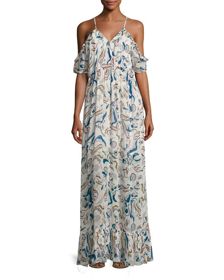 Tryb Carl Cold-Shoulder Chiffon Maxi Dress, White