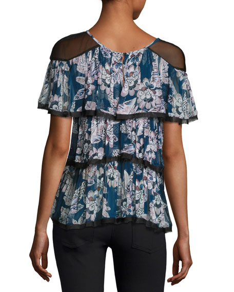 Axel Floral-Print Short Sleeve Blouse, Blue