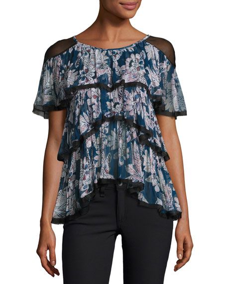 Tryb Axel Floral-Print Short Sleeve Blouse, Blue