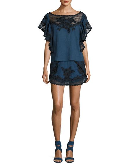 Georgia Embroidered Tulip Skirt, Blue