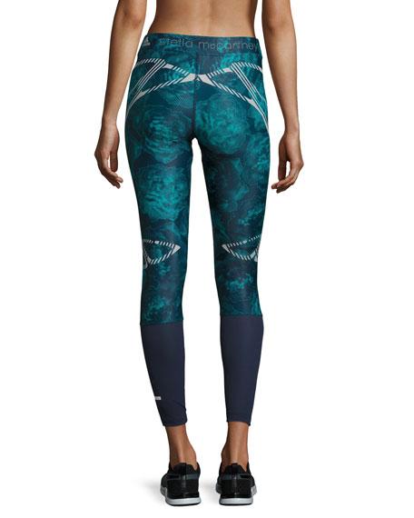 Run Sprintweb Rose-Print Leggings, Noble Ink/Blast Emerald