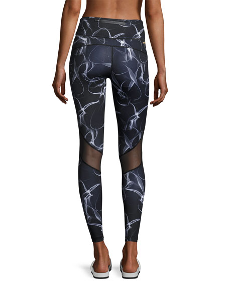 Captain Smoke-Print Ankle Tights, Black Pattern