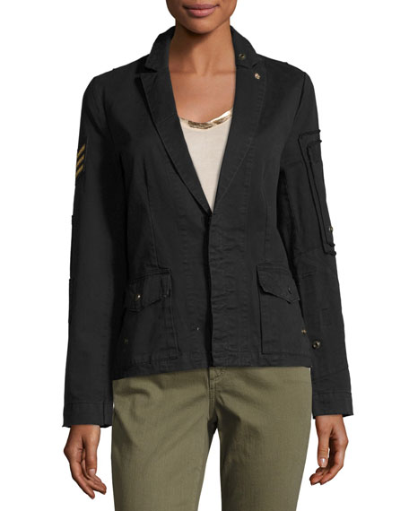 Virginia Grunge Cotton Jacket, Noir