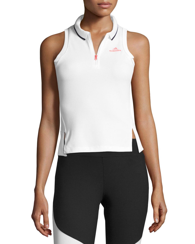 adidas by Stella McCartney Half-Zip Performance Polo Tank, White   Neiman  Marcus 0622f04ce4
