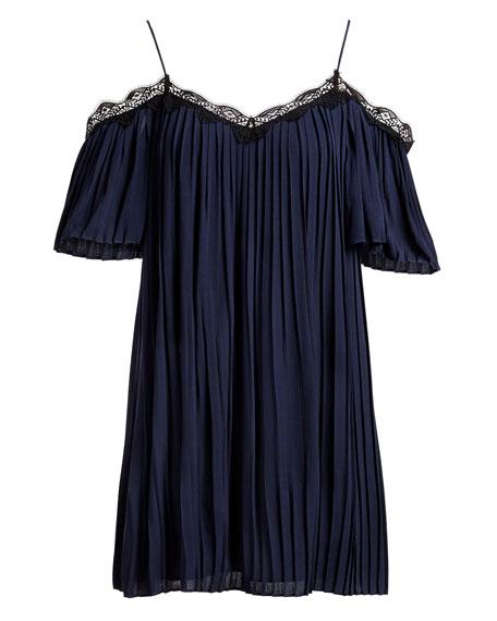 Mimi Cold-Shoulder Pleated Mini Dress, Blue Multi