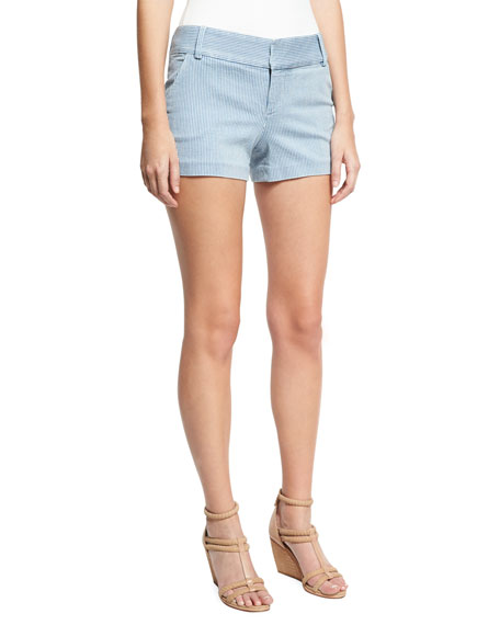 Alice + Olivia Cady Clean-Pocket Striped Shorts, Blue/White