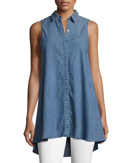Anisa Sleeveless Chambray Tunic Top, Blue
