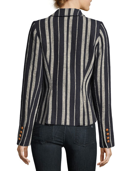 Image 2 of 3: Striped Linen One-Button Blazer, Blue
