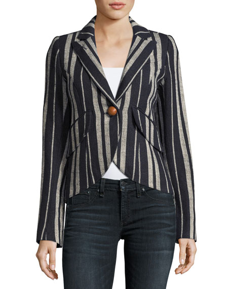 Image 3 of 3: Striped Linen One-Button Blazer, Blue