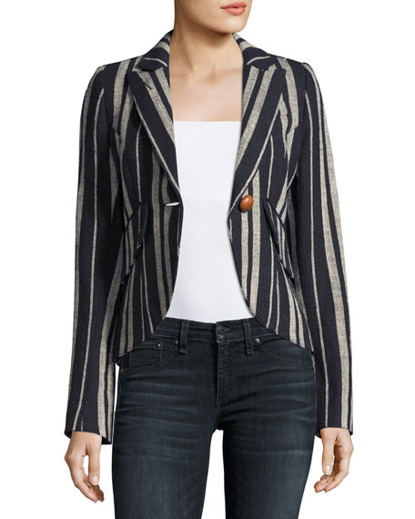 Image 1 of 3: Striped Linen One-Button Blazer, Blue