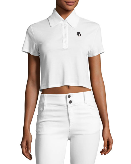 Alice + Olivia Erma Cropped Polo Tee, White
