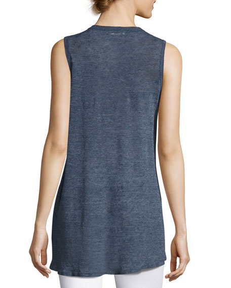 Jamika Sleeveless High-Low Sweater, Blue