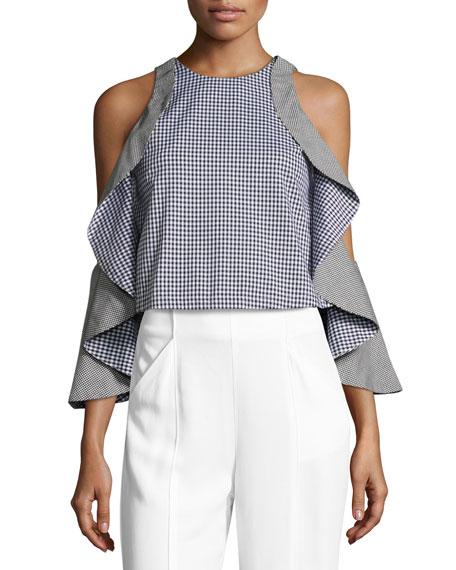 Gingham Draped Sleeve Crop Top  Black Blue. Designer Crop Tops at Neiman Marcus