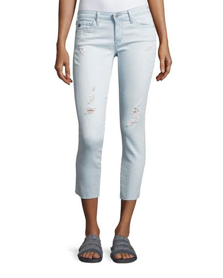 AG Cropped Distressed Denim Jeans, Indigo