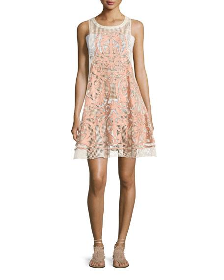 Nostalgia Embroidered Mesh Dress, Pink
