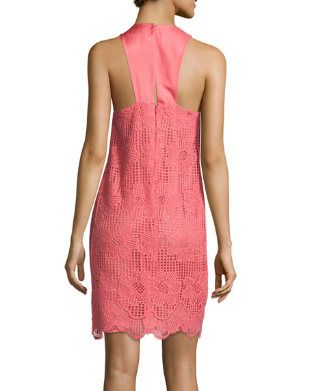 Felisha Sleeveless Floral Lace Shift Dress, Pink