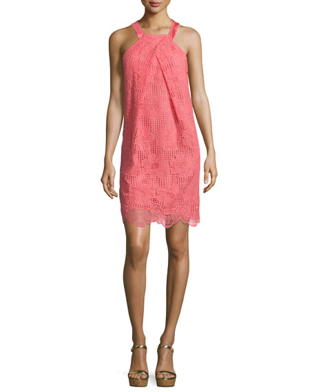 Felisha Sleeveless Floral Lace Shift Dress, Pink