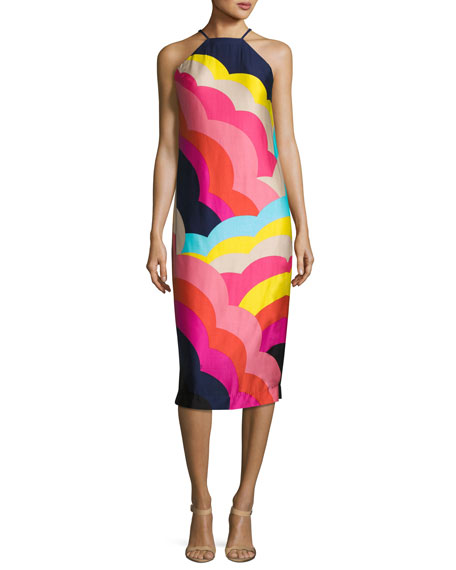 Vina 2 Sleeveless Abstract Satin Midi Dress, Multicolor