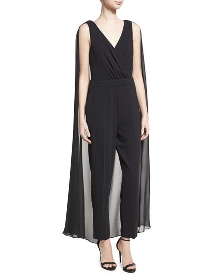 Charo Sleeveless Crepe Jumpsuit w/ Chiffon Cape, Black