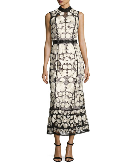 Marchesa Notte Sleeveless Embroidered Lace Cocktail Dress,