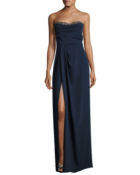 Marchesa Notte Beaded Strapless Sweetheart Crepe Gown, Navy