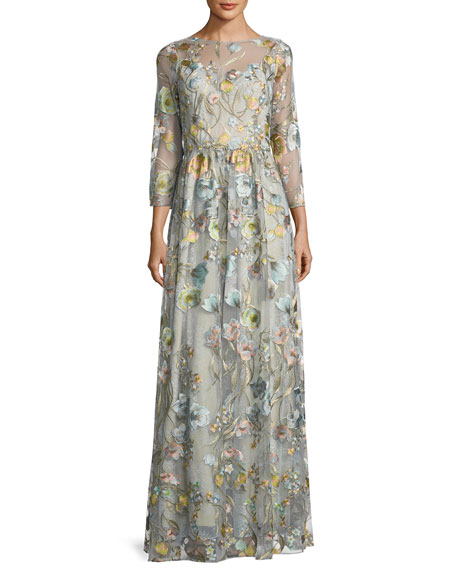 Marchesa Notte 3/4-Sleeve Embroidered Tulle Gown, Blue