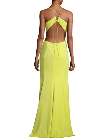 Sleeveless Strappy Stretch Crepe Gown, Chartreuse