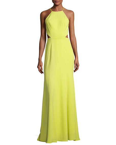 Marchesa Notte Sleeveless Strappy Stretch Crepe Gown, Chartreuse