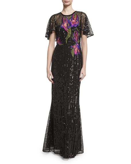 Short-Sleeve Floral Sequin Tulle Gown, Black