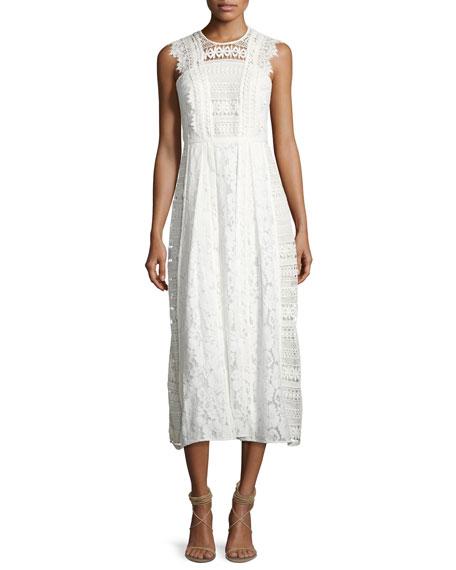 Burberry Sleeveless Mixed-Lace Long Dress