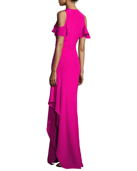 Cold-Shoulder Silk Crepe Column Gown, Pink