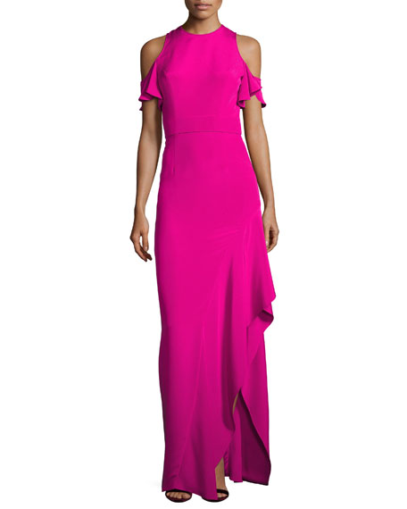 Theia Cold-Shoulder Silk Crepe Column Gown, Pink