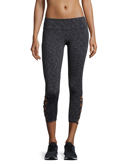 Onzie Weave Capri Athletic Leggings, Gray