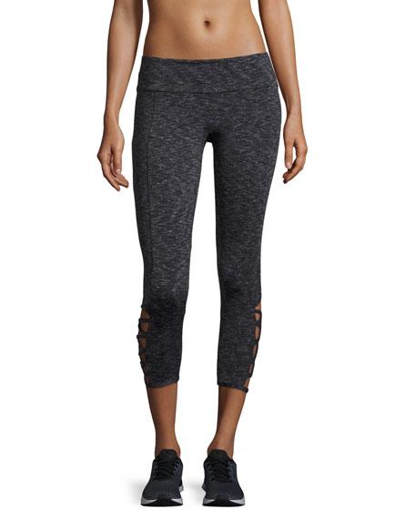 Weave Capri Athletic Leggings, Gray